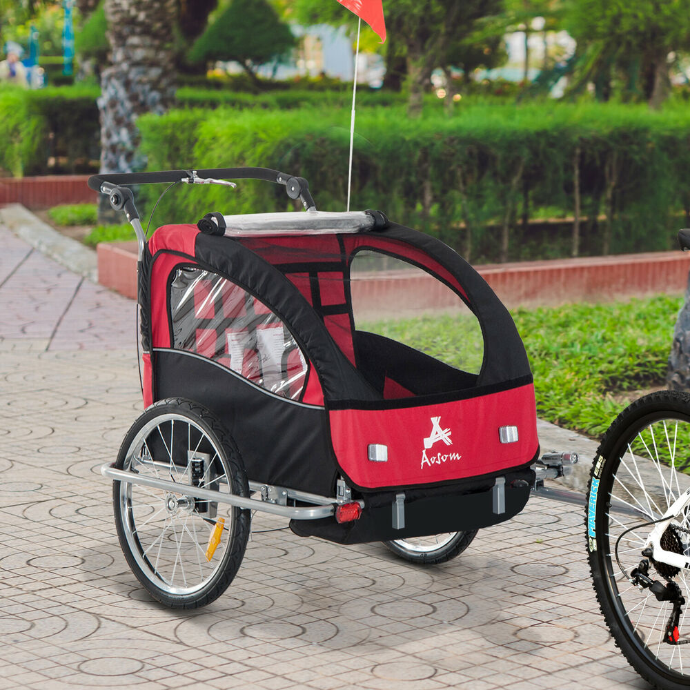 aosom elite ii 3in1 double child bike trailer instructions