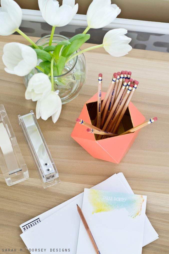 origami pencil holder instructions