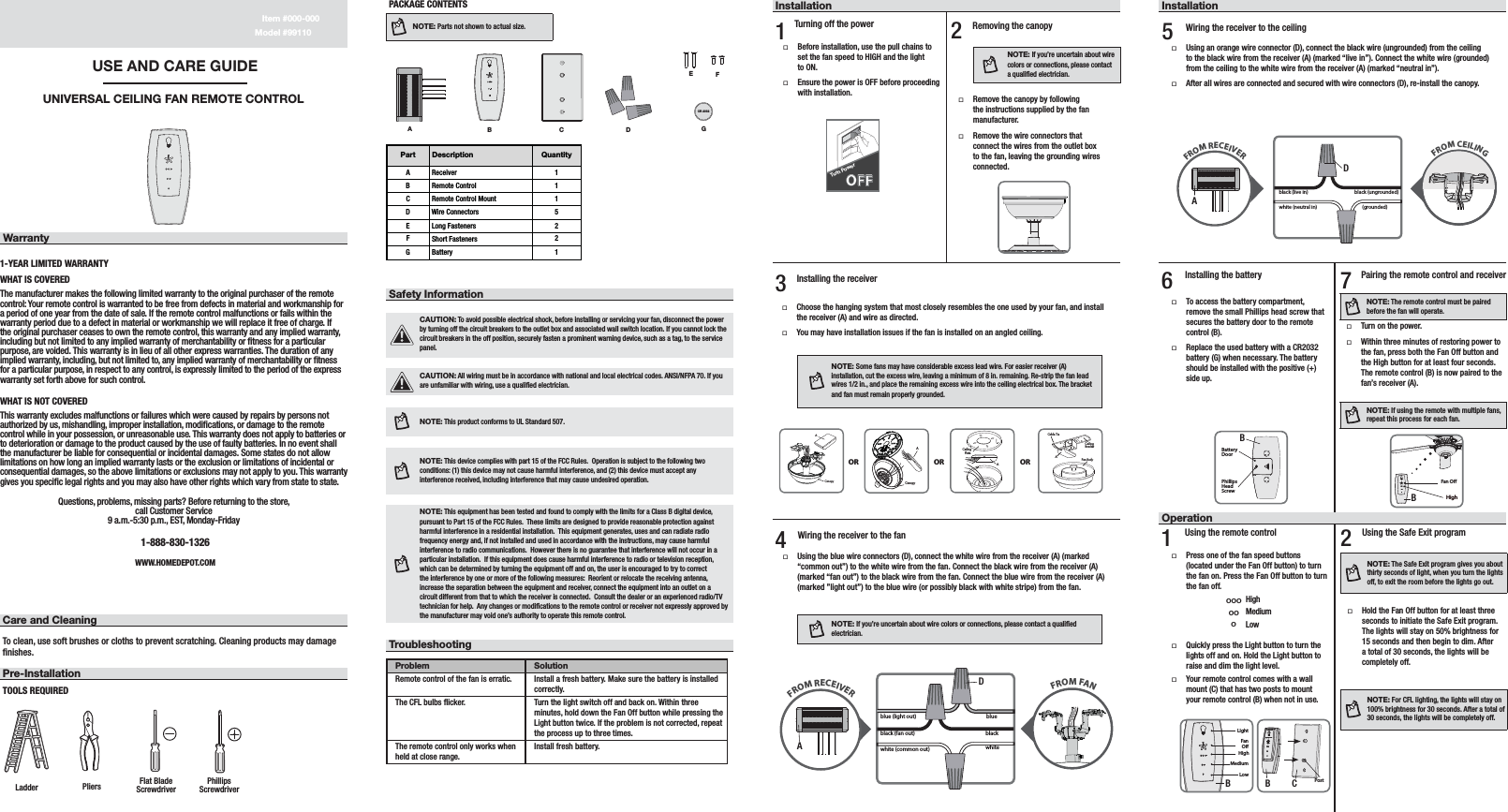 hunter ceiling fan remote instructions